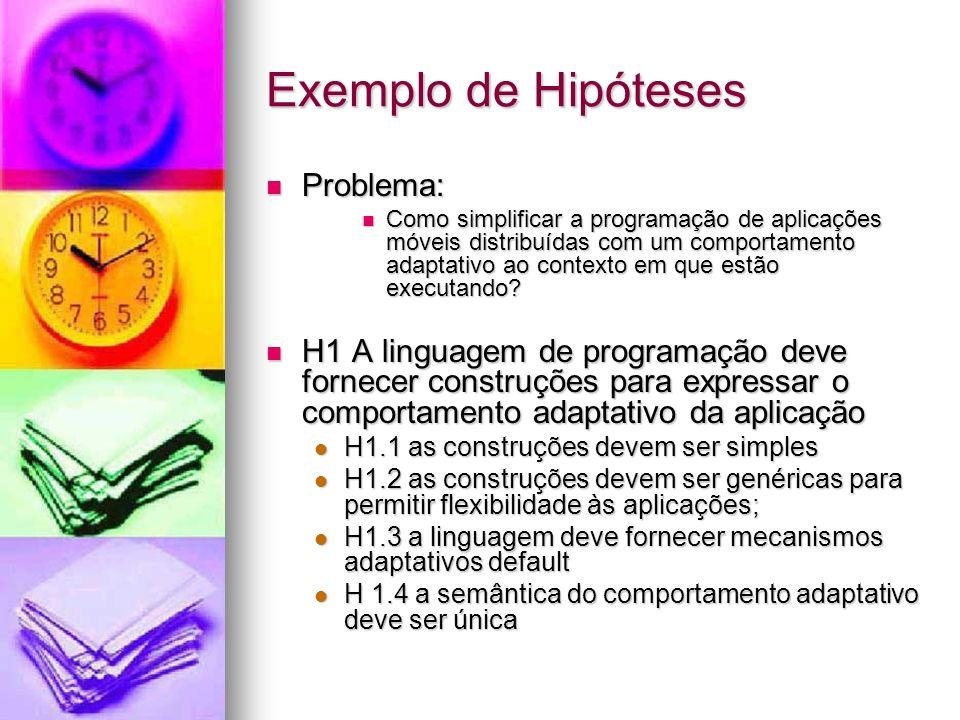 Exemplo de Hipóteses Problema: Problema: Como simplificar a programação de aplicações móveis distribuídas com um comportamento adaptativo ao contexto