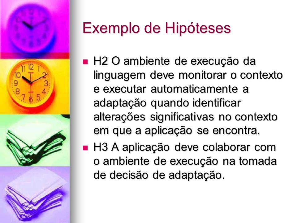 Exemplo de Hipóteses H2 O ambiente de execução da linguagem deve monitorar o contexto e executar automaticamente a adaptação quando identificar alterações significativas no contexto em que a aplicação se encontra.