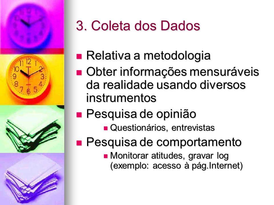 3. Coleta dos Dados Relativa a metodologia Relativa a metodologia Obter informações mensuráveis da realidade usando diversos instrumentos Obter inform