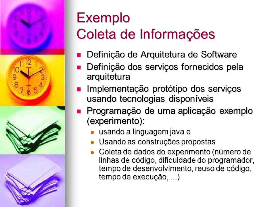 Exemplo Coleta de Informações Definição de Arquitetura de Software Definição de Arquitetura de Software Definição dos serviços fornecidos pela arquite
