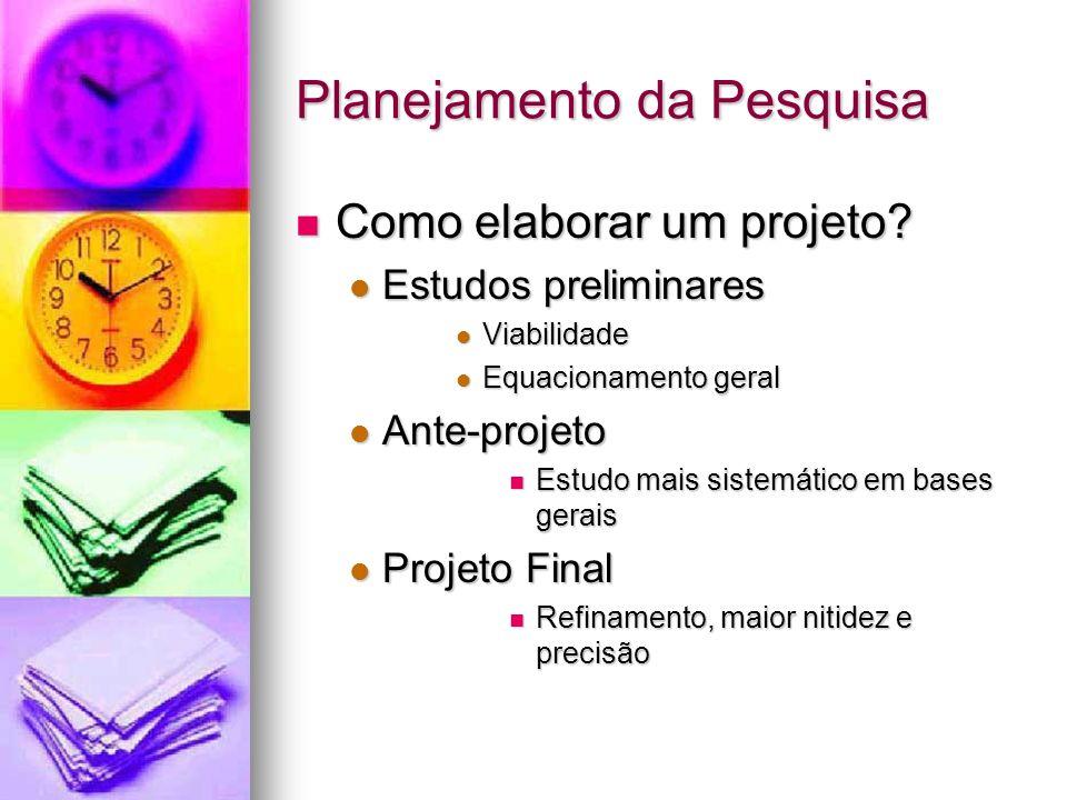 Planejamento da Pesquisa Como elaborar um projeto? Como elaborar um projeto? Estudos preliminares Estudos preliminares Viabilidade Viabilidade Equacio