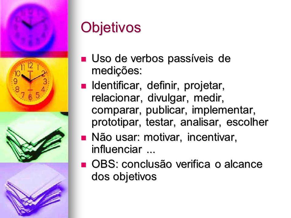 Objetivos Uso de verbos passíveis de medições: Uso de verbos passíveis de medições: Identificar, definir, projetar, relacionar, divulgar, medir, comparar, publicar, implementar, prototipar, testar, analisar, escolher Identificar, definir, projetar, relacionar, divulgar, medir, comparar, publicar, implementar, prototipar, testar, analisar, escolher Não usar: motivar, incentivar, influenciar...