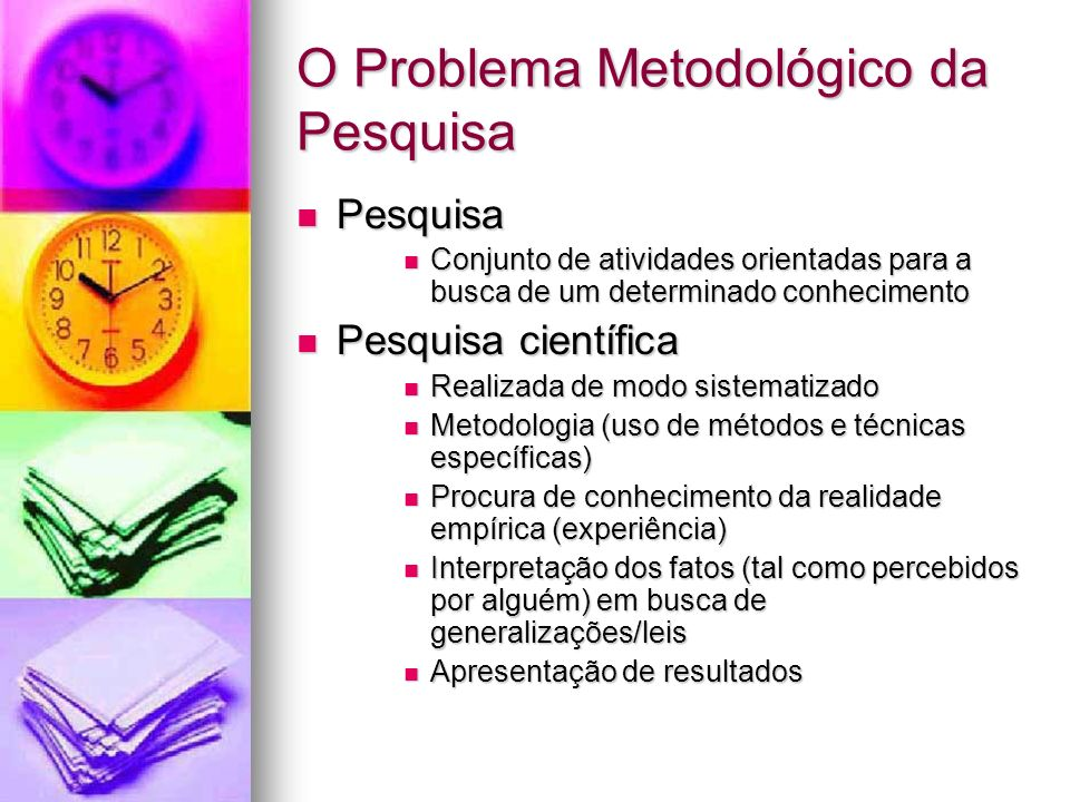 O Problema Metodológico da Pesquisa Pesquisa Pesquisa Conjunto de atividades orientadas para a busca de um determinado conhecimento Conjunto de ativid