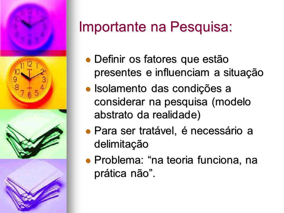 Importante na Pesquisa: Definir os fatores que estão presentes e influenciam a situação Definir os fatores que estão presentes e influenciam a situaçã