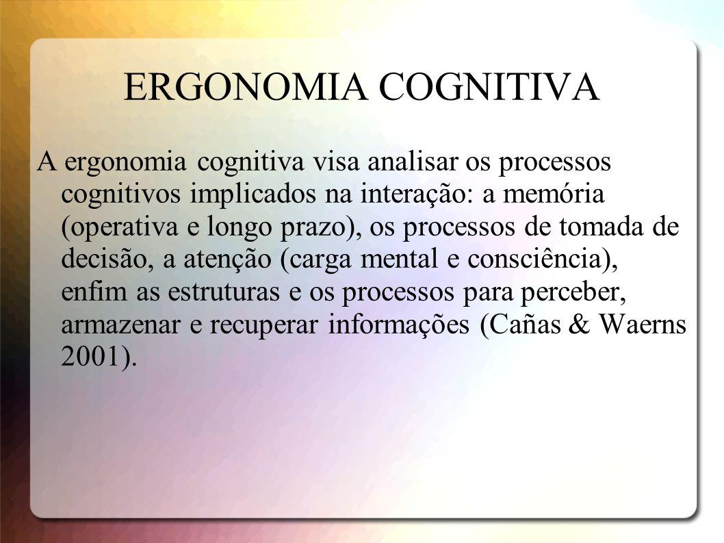 ERGONOMIA COGNITIVA A ergonomia cognitiva visa analisar os processos cognitivos implicados na interação: a memória (operativa e longo prazo), os proce