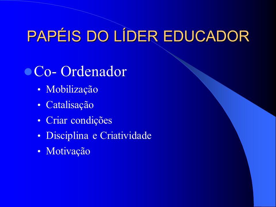 PAPÉIS DO LÍDER EDUCADOR Co- Ordenador Mobilização Catalisação Criar condições Disciplina e Criatividade Motivação