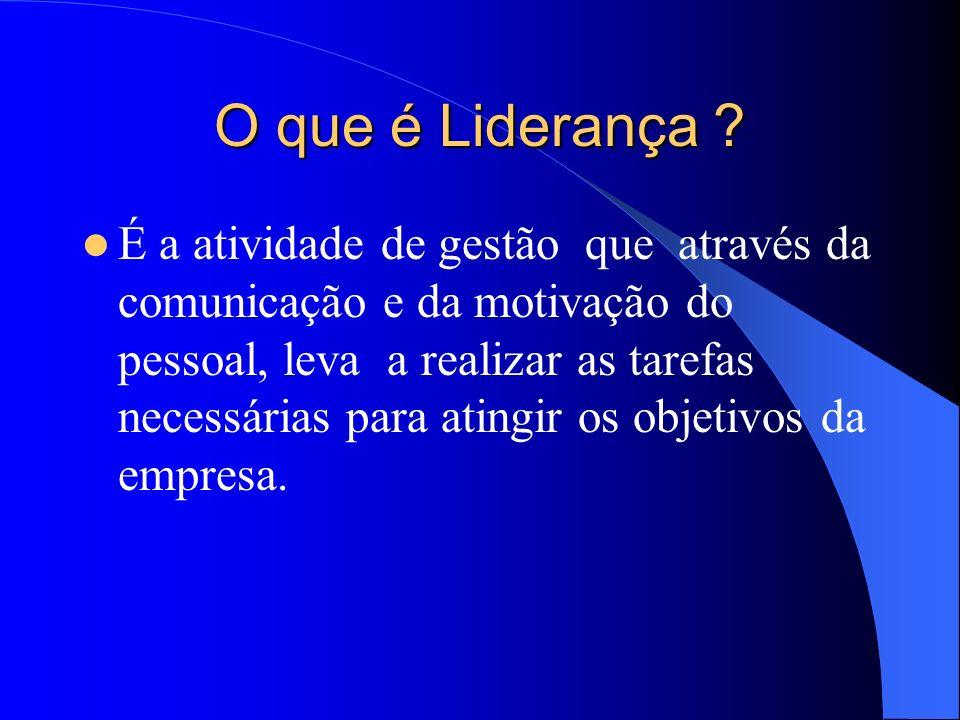 Tipos de Liderança Liderança Autocrática Liderança Liberal (Laissez-faire) Liderança Democrática Participativa Liderança Situacional