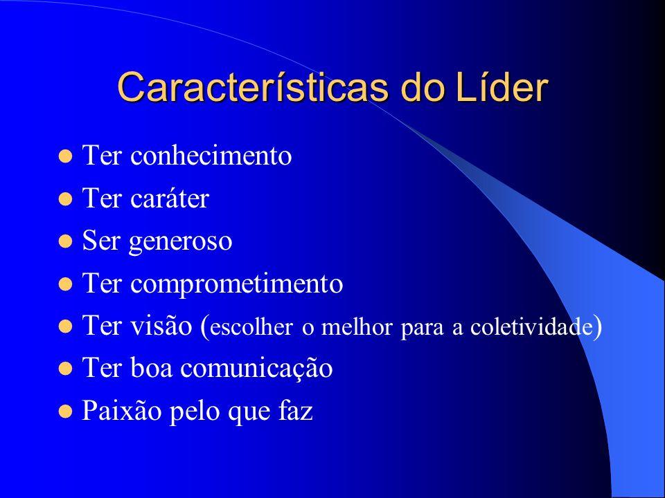 Características do Líder Ter conhecimento Ter caráter Ser generoso Ter comprometimento Ter visão ( escolher o melhor para a coletividade ) Ter boa comunicação Paixão pelo que faz