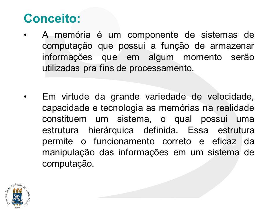 Conceito: A memória é um componente de sistemas de computação que possui a função de armazenar informações que em algum momento serão utilizadas pra f