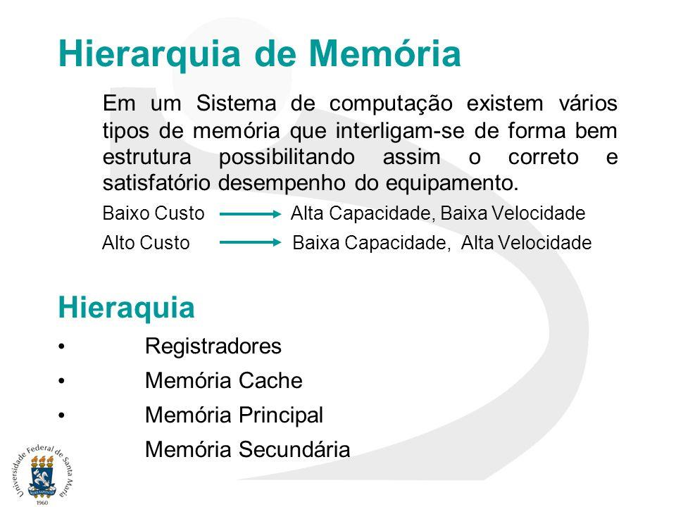 Hierarquia de Memória Em um Sistema de computação existem vários tipos de memória que interligam-se de forma bem estrutura possibilitando assim o corr