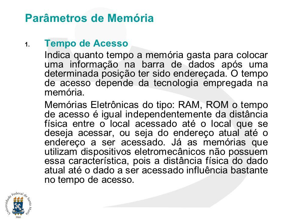 Parâmetros de Memória 1. Tempo de Acesso Indica quanto tempo a memória gasta para colocar uma informação na barra de dados após uma determinada posiçã