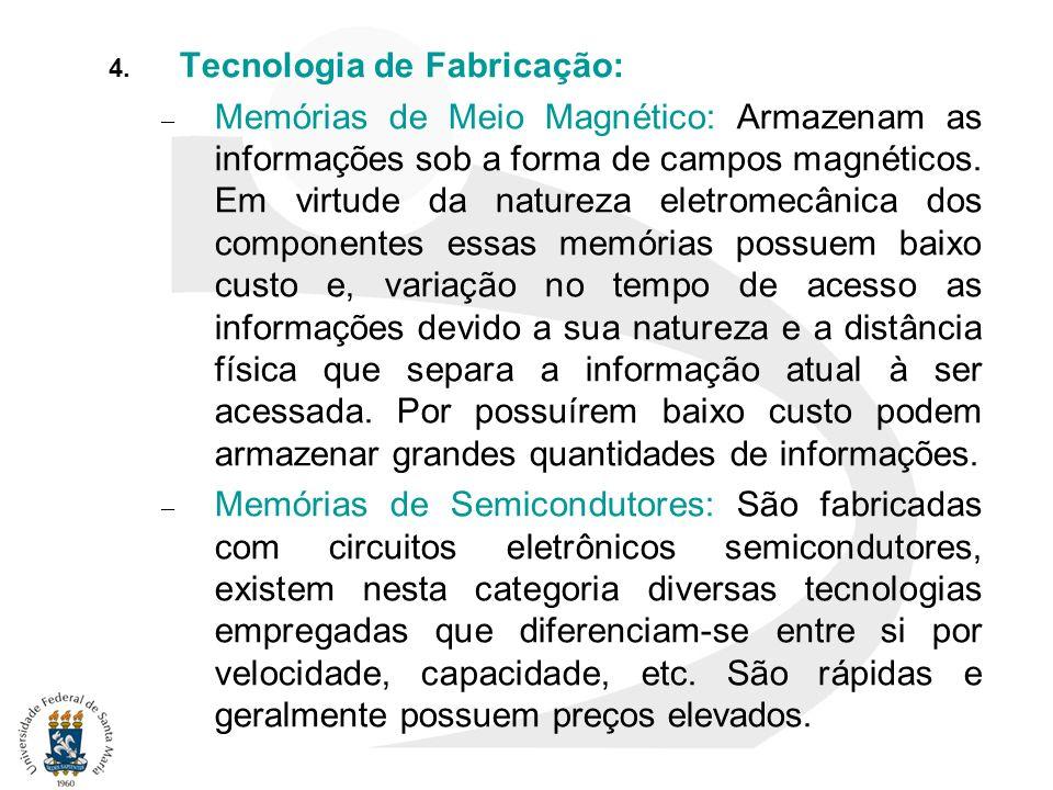4. Tecnologia de Fabricação: – Memórias de Meio Magnético: Armazenam as informações sob a forma de campos magnéticos. Em virtude da natureza eletromec