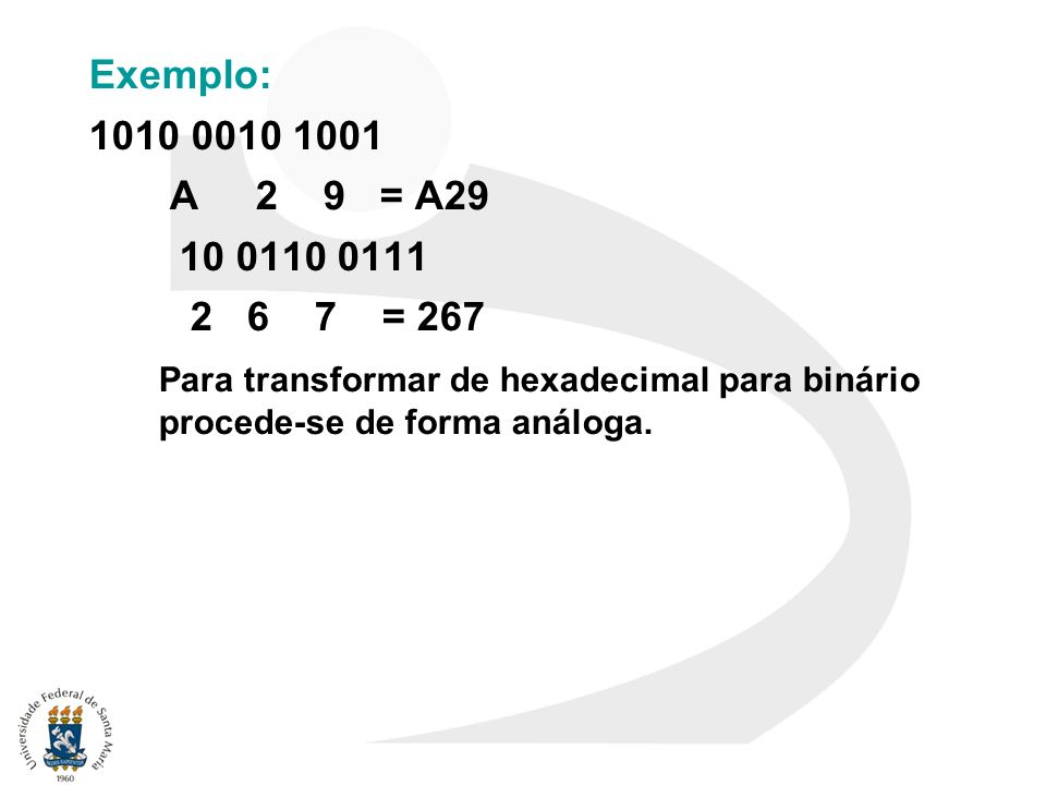 Exemplo: 1010 0010 1001 A 2 9 = A29 10 0110 0111 2 6 7 = 267 Para transformar de hexadecimal para binário procede-se de forma análoga.