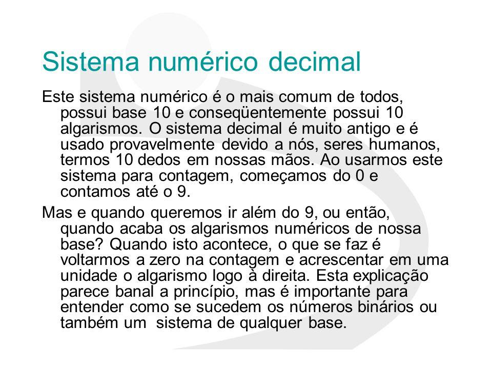 Sistema numérico decimal Este sistema numérico é o mais comum de todos, possui base 10 e conseqüentemente possui 10 algarismos. O sistema decimal é mu