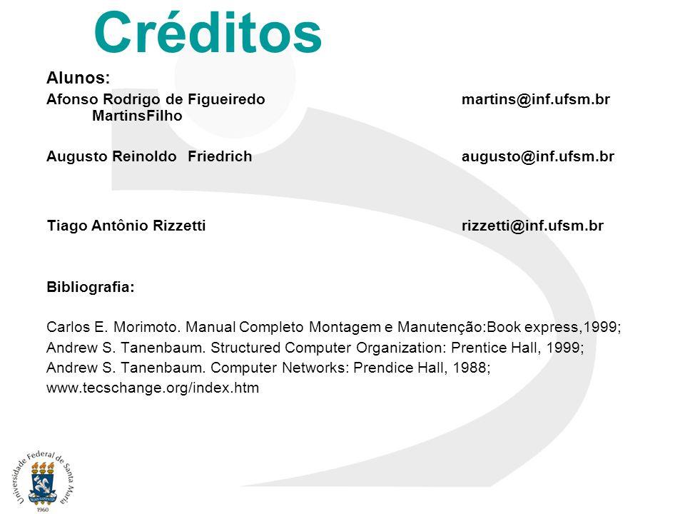 Créditos Alunos: Afonso Rodrigo de Figueiredo martins@inf.ufsm.br MartinsFilho Augusto Reinoldo Friedrich augusto@inf.ufsm.br Tiago Antônio Rizzetti r