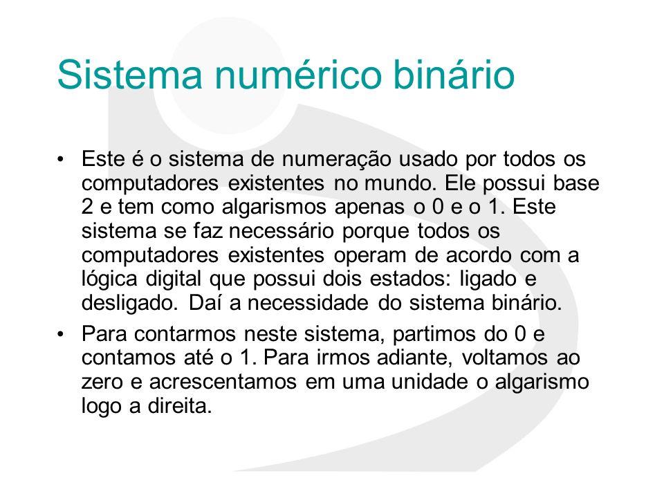 Sistema numérico binário Este é o sistema de numeração usado por todos os computadores existentes no mundo. Ele possui base 2 e tem como algarismos ap