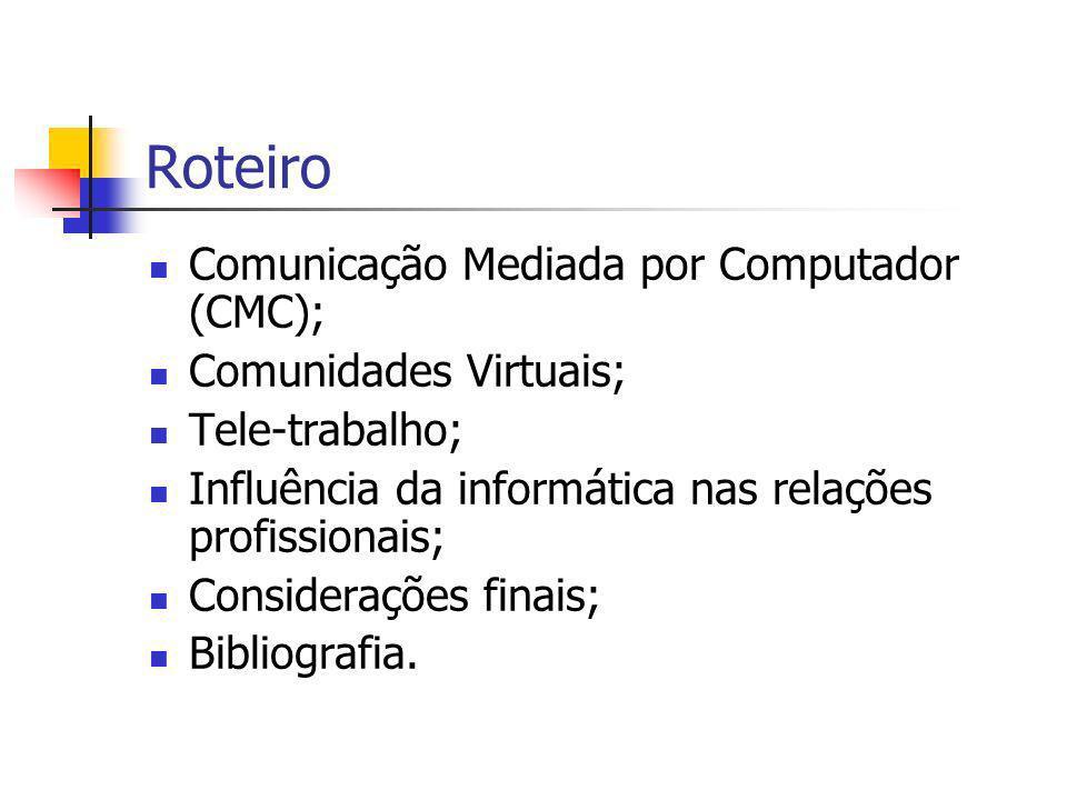 Roteiro Comunicação Mediada por Computador (CMC); Comunidades Virtuais; Tele-trabalho; Influência da informática nas relações profissionais; Considerações finais; Bibliografia.
