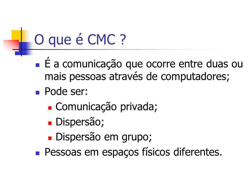 O que é CMC ? É a comunicação que ocorre entre duas ou mais pessoas através de computadores; Pode ser: Comunicação privada; Dispersão; Dispersão em gr