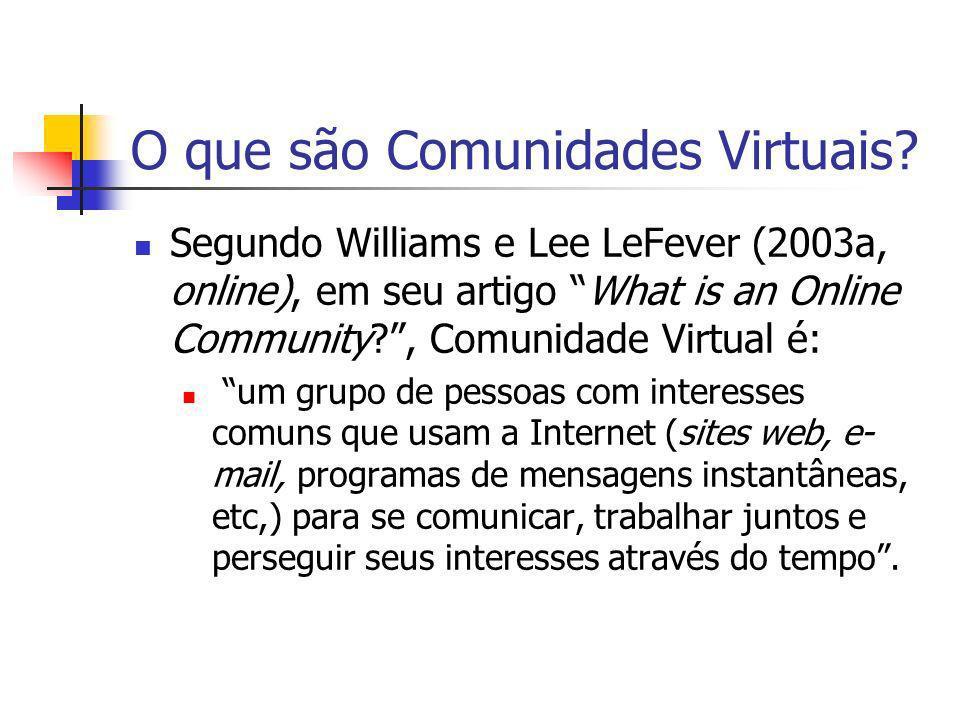 O que são Comunidades Virtuais? Segundo Williams e Lee LeFever (2003a, online), em seu artigo What is an Online Community?, Comunidade Virtual é: um g