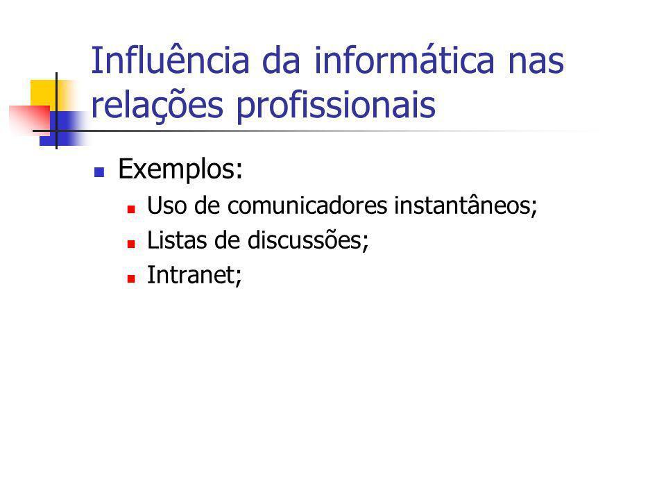 Exemplos: Uso de comunicadores instantâneos; Listas de discussões; Intranet;