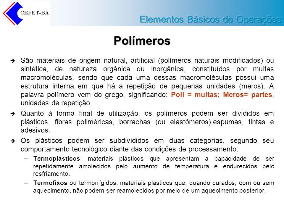Polímeros São materiais de origem natural, artificial (polímeros naturais modificados) ou sintética, de natureza orgânica ou inorgânica, constituídos