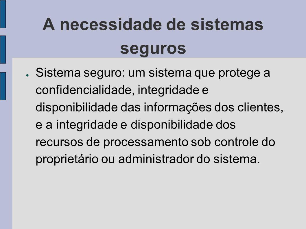 A necessidade de sistemas seguros Sistema seguro: um sistema que protege a confidencialidade, integridade e disponibilidade das informações dos client