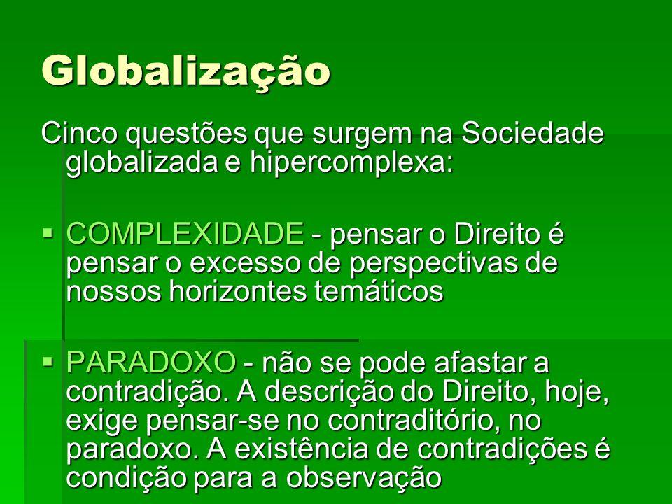 Globalização Cinco questões que surgem na Sociedade globalizada e hipercomplexa: COMPLEXIDADE - pensar o Direito é pensar o excesso de perspectivas de