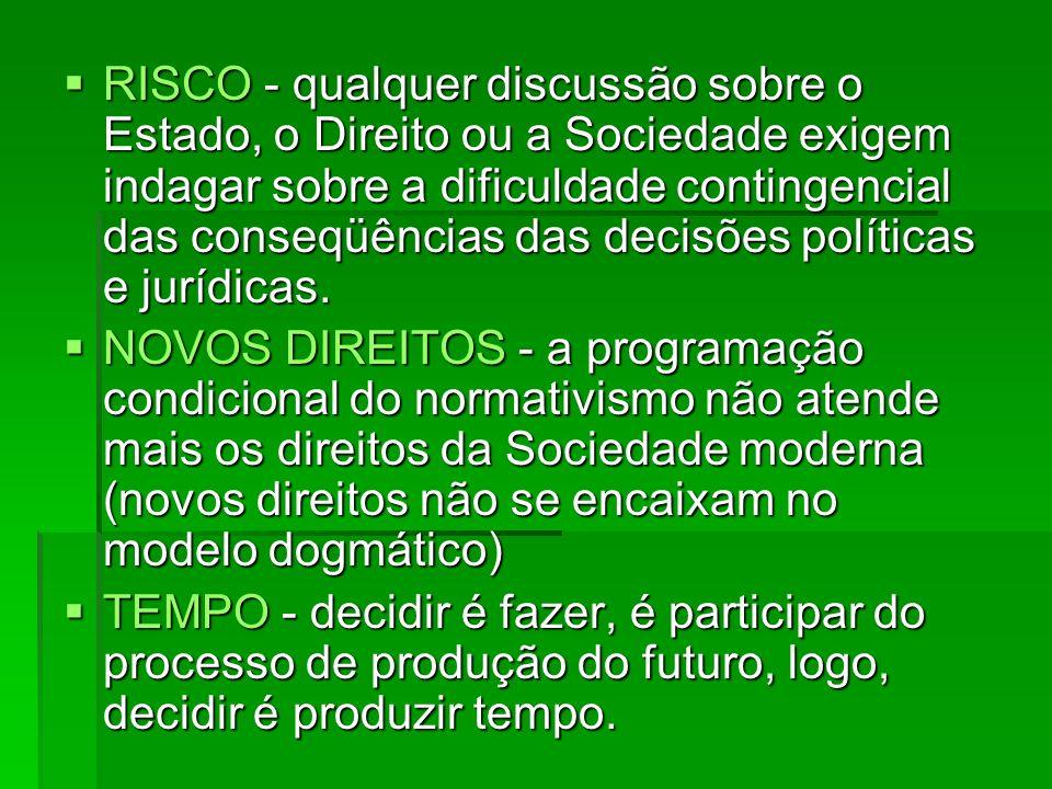 RISCO - qualquer discussão sobre o Estado, o Direito ou a Sociedade exigem indagar sobre a dificuldade contingencial das conseqüências das decisões po