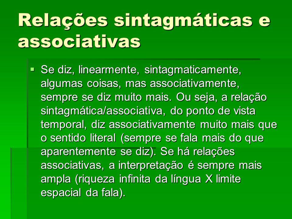 Relações sintagmáticas e associativas Se diz, linearmente, sintagmaticamente, algumas coisas, mas associativamente, sempre se diz muito mais. Ou seja,