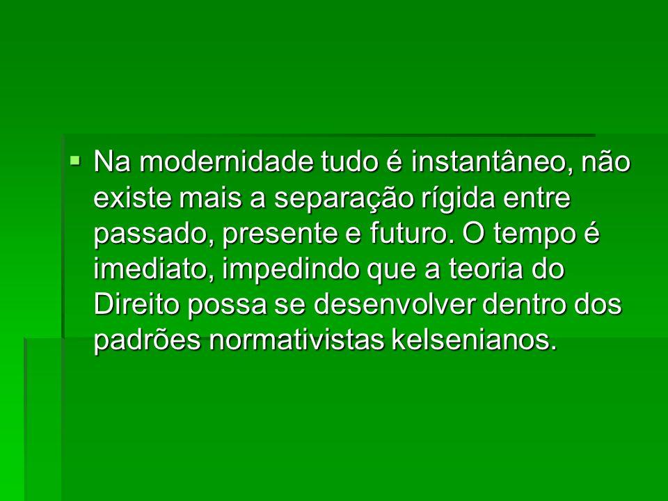 Na modernidade tudo é instantâneo, não existe mais a separação rígida entre passado, presente e futuro. O tempo é imediato, impedindo que a teoria do