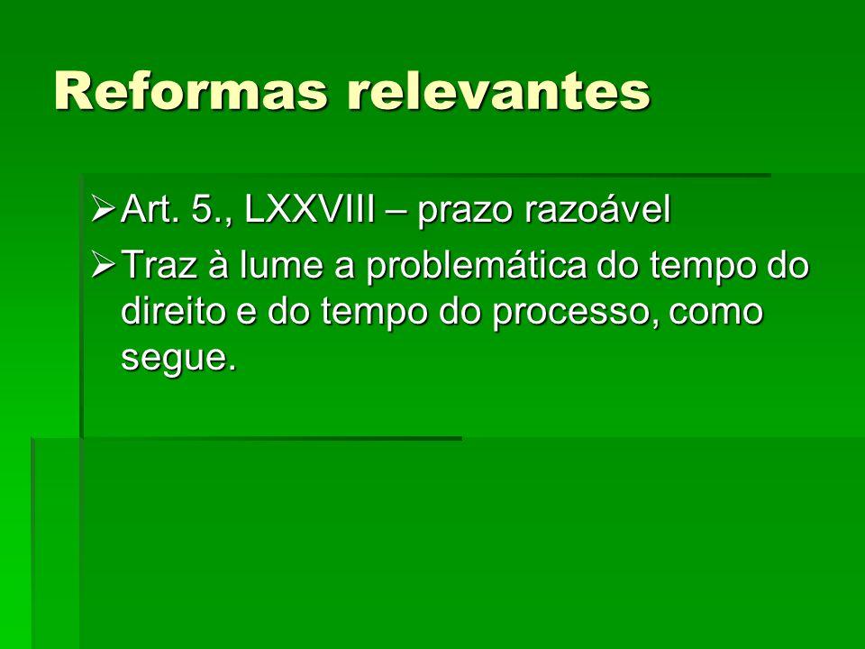 Reformas relevantes Art. 5., LXXVIII – prazo razoável Art. 5., LXXVIII – prazo razoável Traz à lume a problemática do tempo do direito e do tempo do p
