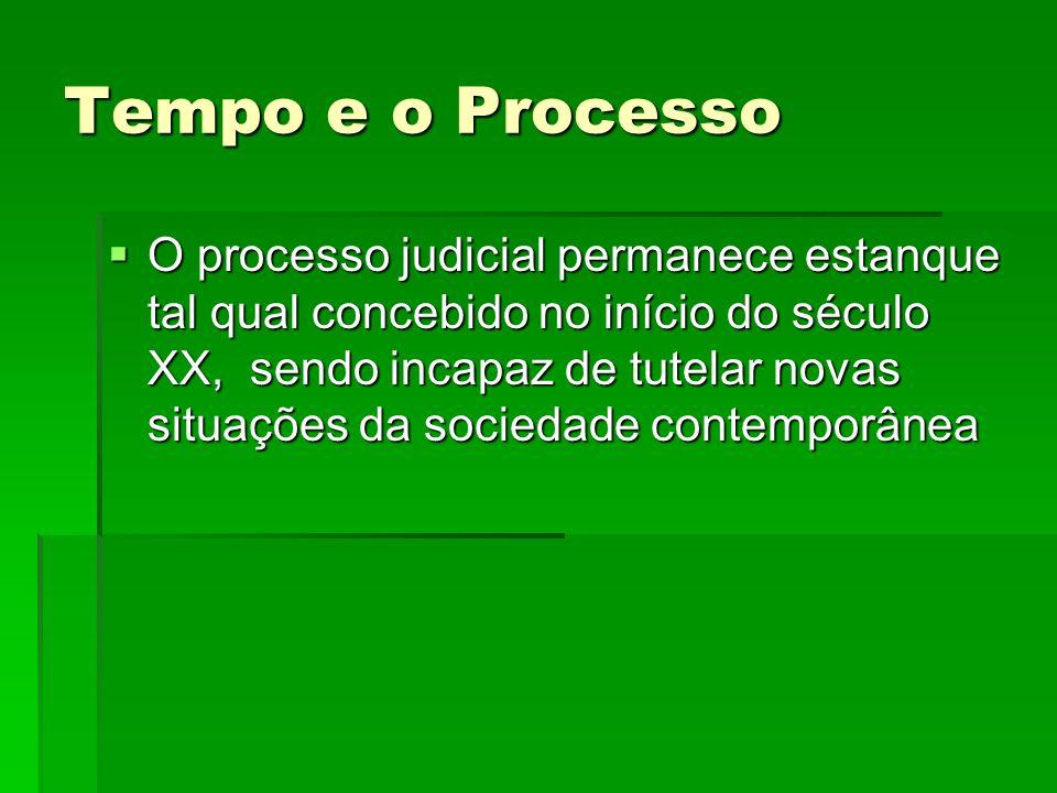 Tempo e o Processo O processo judicial permanece estanque tal qual concebido no início do século XX, sendo incapaz de tutelar novas situações da socie