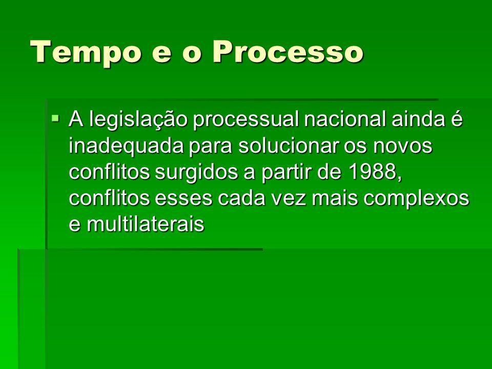 Tempo e o Processo A legislação processual nacional ainda é inadequada para solucionar os novos conflitos surgidos a partir de 1988, conflitos esses c