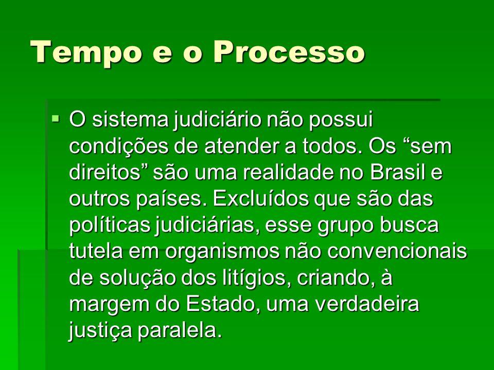 Tempo e o Processo O sistema judiciário não possui condições de atender a todos. Os sem direitos são uma realidade no Brasil e outros países. Excluído