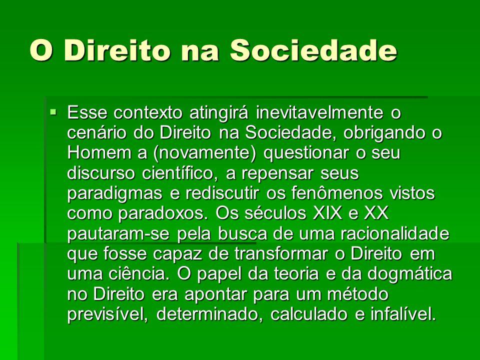 O Direito na Sociedade Esse contexto atingirá inevitavelmente o cenário do Direito na Sociedade, obrigando o Homem a (novamente) questionar o seu disc