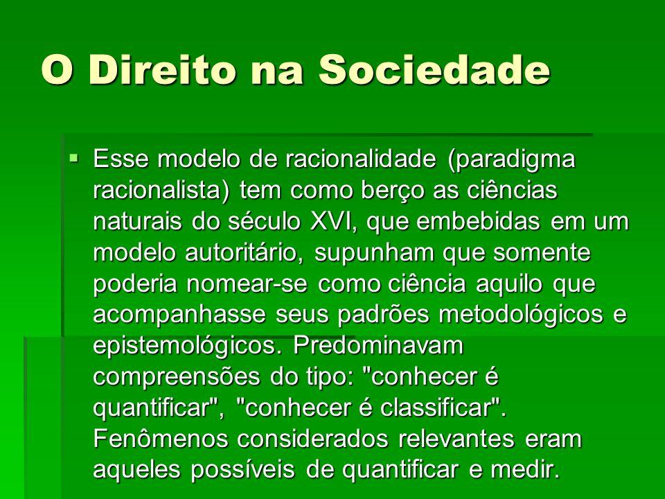 O Direito na Sociedade O modelo de Aristóteles (forma e substancia) e o padrão de Descartes (objetos fragmentáveis e simplificáveis) formavam/formam a base desse paradigma científico.