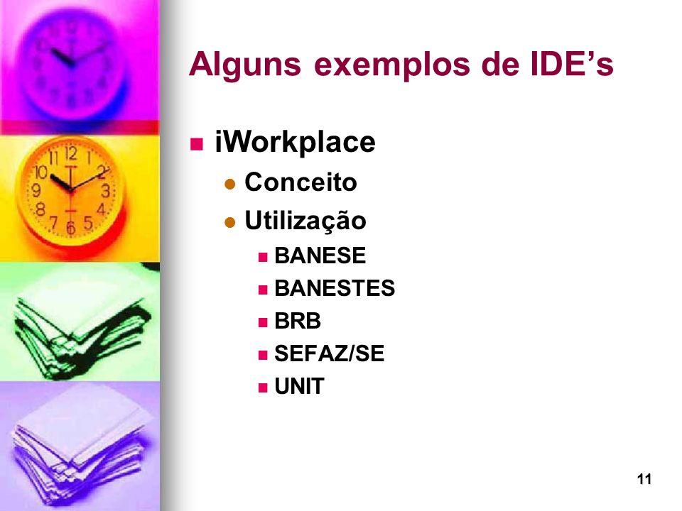 11 Alguns exemplos de IDEs iWorkplace Conceito Utilização BANESE BANESTES BRB SEFAZ/SE UNIT