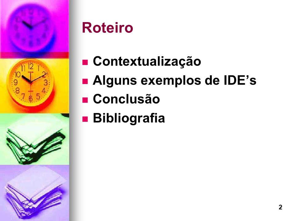 2 Roteiro Contextualização Alguns exemplos de IDEs Conclusão Bibliografia