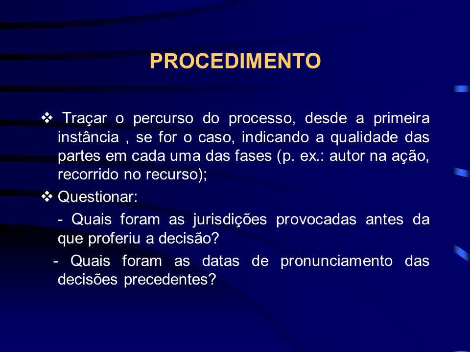 PROCEDIMENTO Traçar o percurso do processo, desde a primeira instância, se for o caso, indicando a qualidade das partes em cada uma das fases (p.