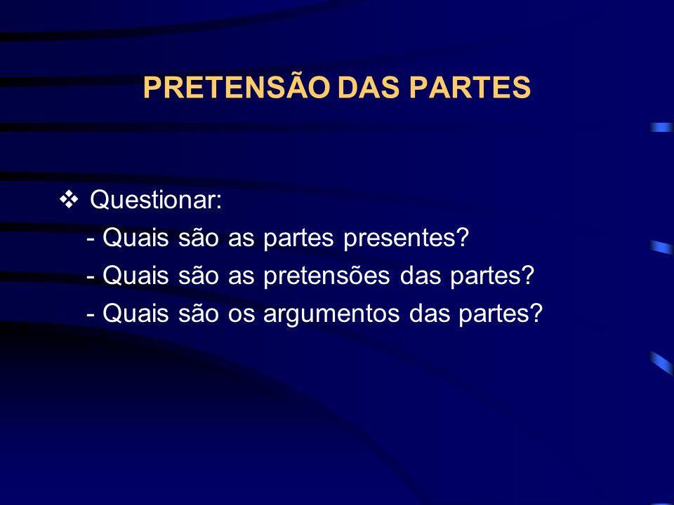 PRETENSÃO DAS PARTES Questionar: - Quais são as partes presentes.