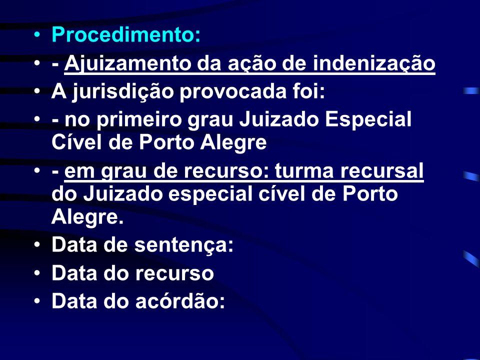 Procedimento: - Ajuizamento da ação de indenização A jurisdição provocada foi: - no primeiro grau Juizado Especial Cível de Porto Alegre - em grau de recurso: turma recursal do Juizado especial cível de Porto Alegre.