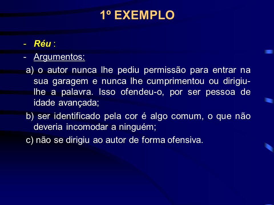 1º EXEMPLO -Réu : -Argumentos: a) o autor nunca lhe pediu permissão para entrar na sua garagem e nunca lhe cumprimentou ou dirigiu- lhe a palavra.