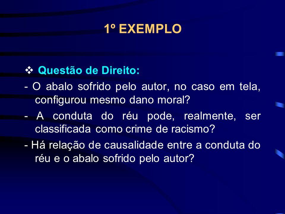 1º EXEMPLO Questão de Direito: - O abalo sofrido pelo autor, no caso em tela, configurou mesmo dano moral.