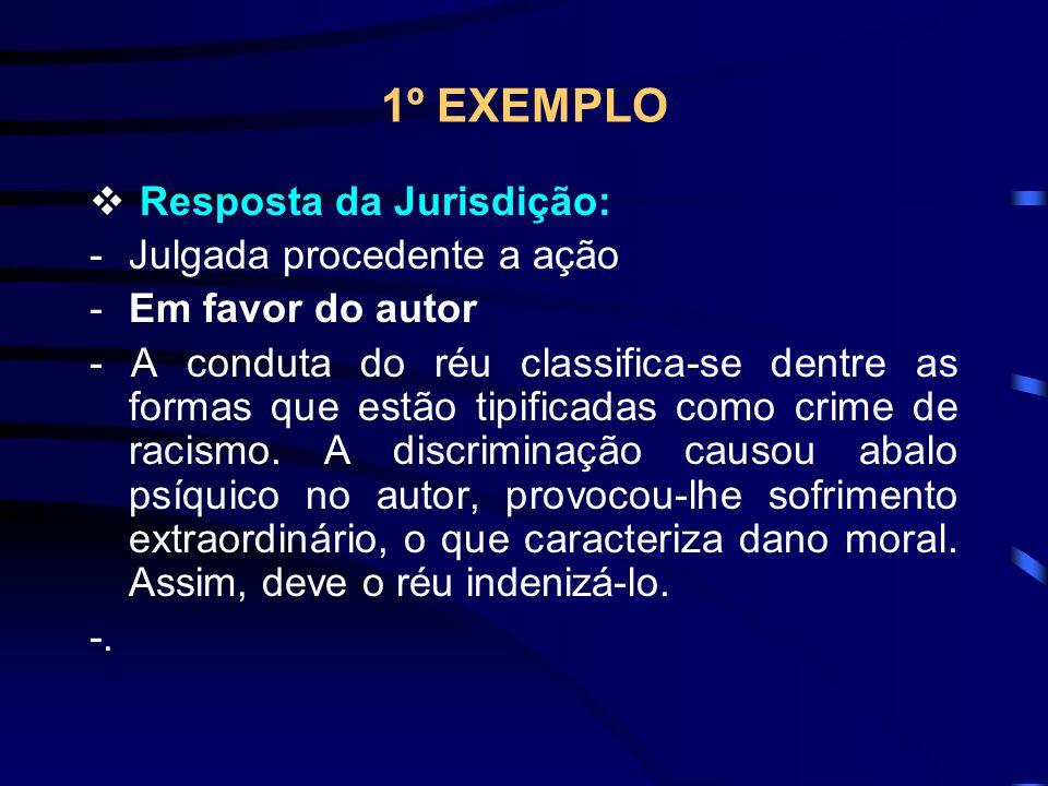 1º EXEMPLO Resposta da Jurisdição: -Julgada procedente a ação -Em favor do autor - A conduta do réu classifica-se dentre as formas que estão tipificadas como crime de racismo.