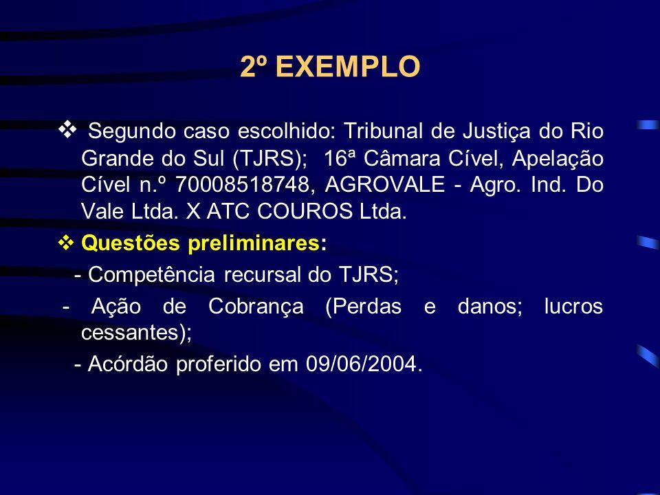 2º EXEMPLO Segundo caso escolhido: Tribunal de Justiça do Rio Grande do Sul (TJRS); 16ª Câmara Cível, Apelação Cível n.º 70008518748, AGROVALE - Agro.