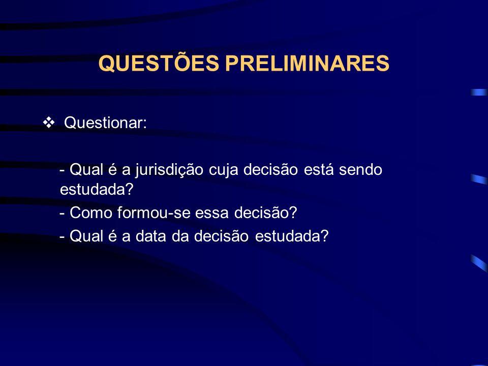 QUESTÕES PRELIMINARES Questionar: - Qual é a jurisdição cuja decisão está sendo estudada.