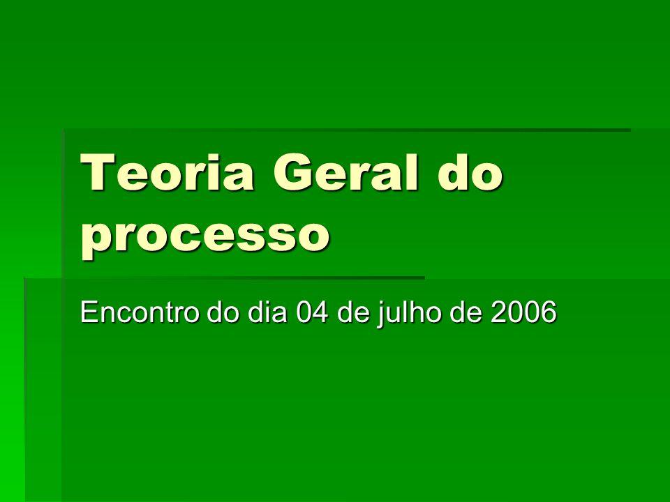 Teoria Geral do processo Encontro do dia 04 de julho de 2006