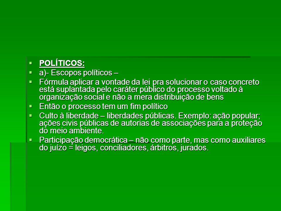 POLÍTICOS: POLÍTICOS: a)- Escopos políticos – a)- Escopos políticos – Fórmula aplicar a vontade da lei pra solucionar o caso concreto está suplantada