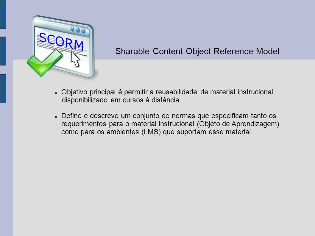 Objetivo principal é permitir a reusabilidade de material instrucional disponibilizado em cursos à distância. Define e descreve um conjunto de normas