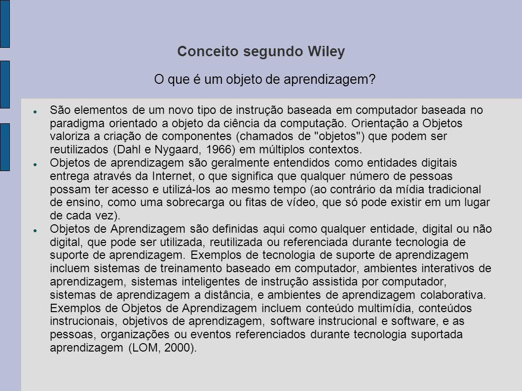 Conceito segundo Wiley O que é um objeto de aprendizagem? São elementos de um novo tipo de instrução baseada em computador baseada no paradigma orient
